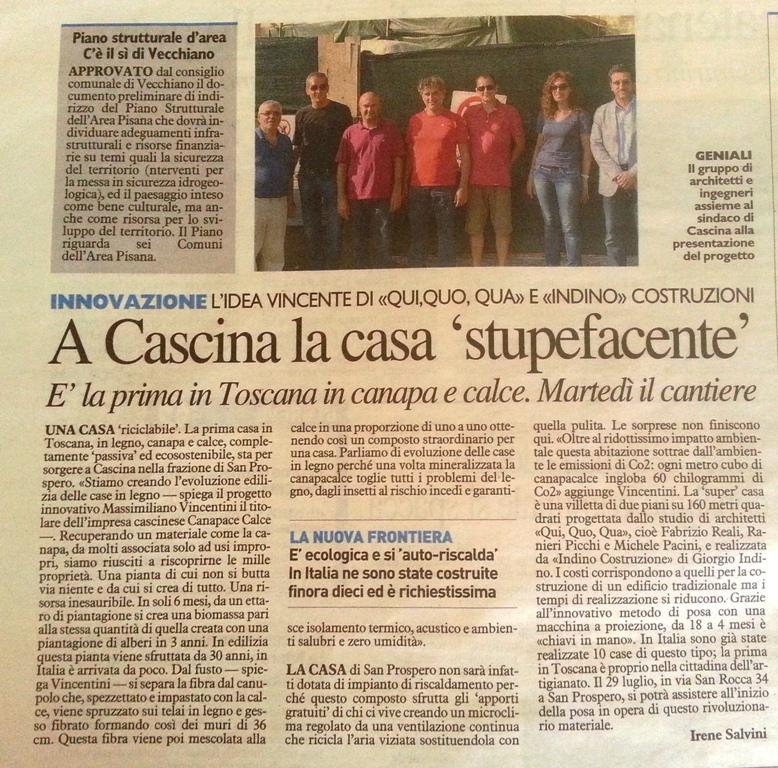 Uscita della Nazione di Pisa del 27 luglio 2014